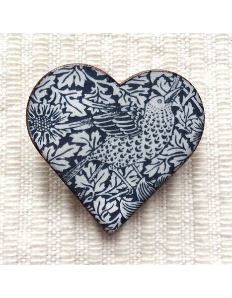 Bird & Anemone Heart Brooch
