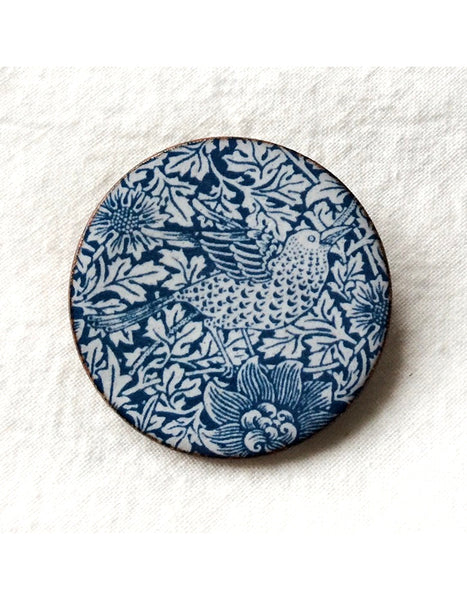 Bird & Anemone Round Brooch