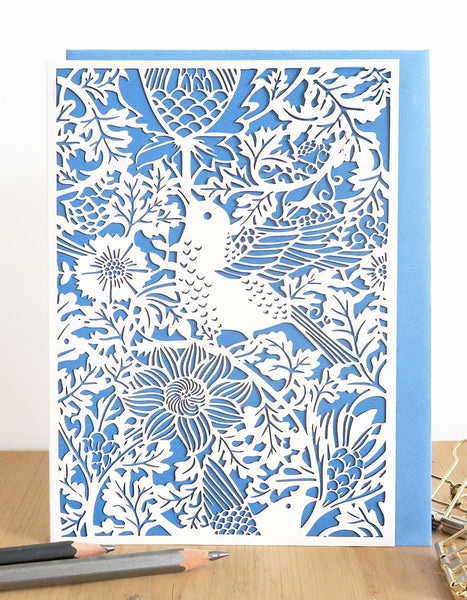 Bird & Anemone (blue) Laser Cut Card