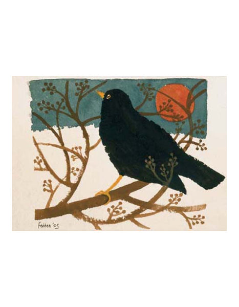 Blackbird in the Snow Greetings Card Pack