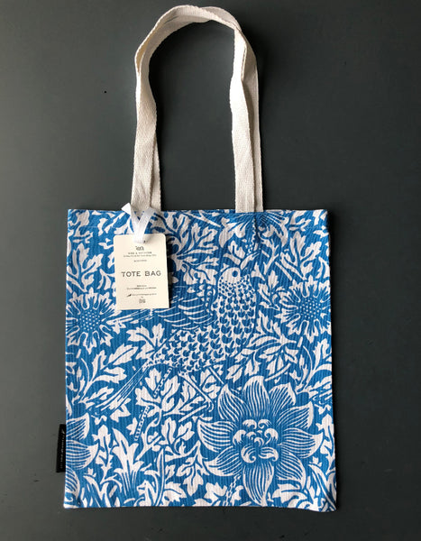 Blue 'Bird & Anemone' Screen Print Tote Bag
