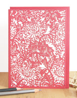 Chrysanthemum (red) Laser Cut Card