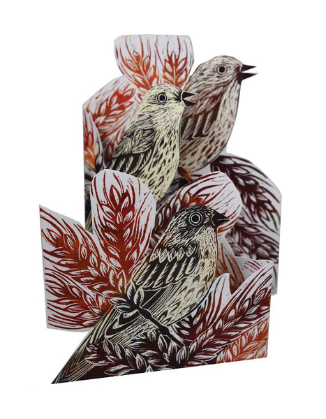 Corn Buntings 3D Greetings Card