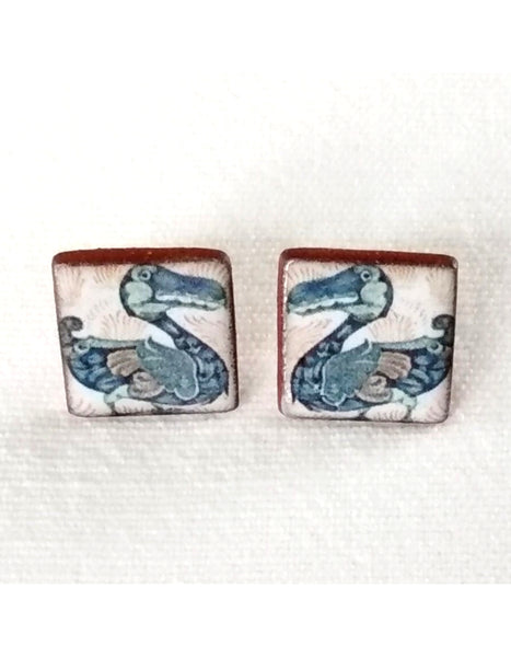 De Morgan Dodo Square Stud Earrings