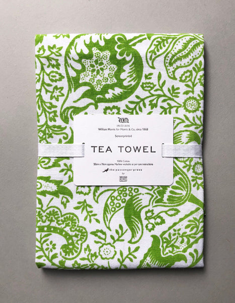 Green 'Indian' Screen Print Tea Towel