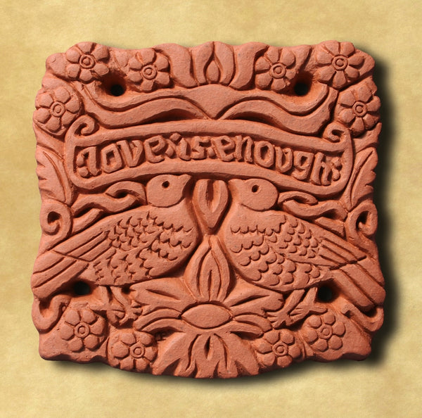 Decorative Terracotta Wall Tile - Love is Enough