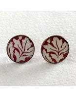 Pink Leaf Stud Earrings