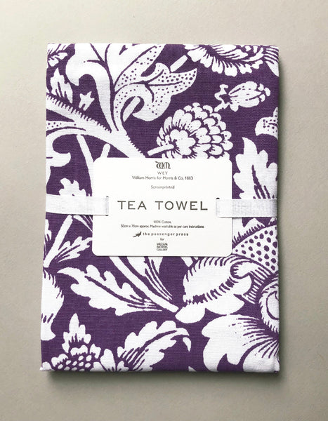 Purple 'Wey' Screen Print Tea Towel