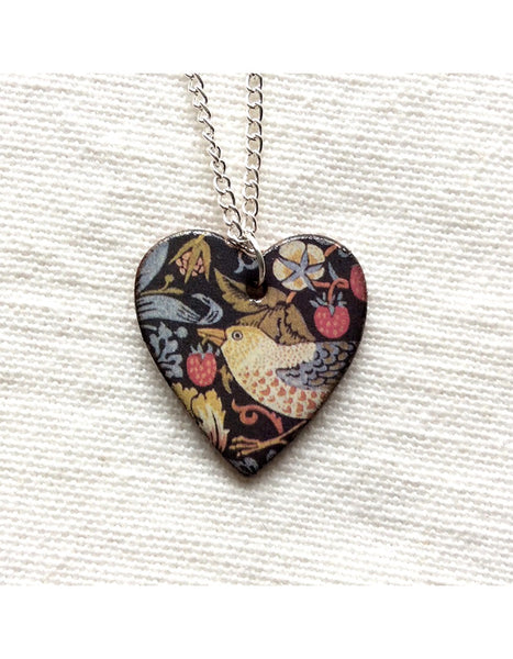 Strawberry Thief Heart Pendant