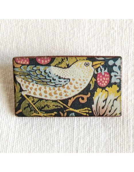 Strawberry Thief Bird Rectangle Brooch