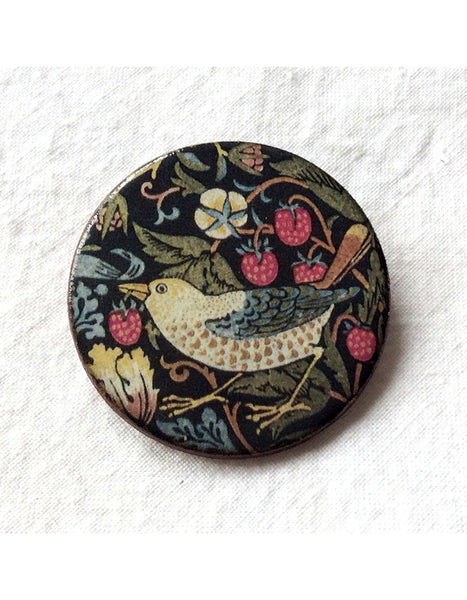 Strawberry Thief Round Brooch