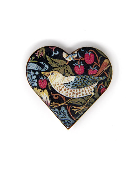 Strawberry Thief Heart Brooch
