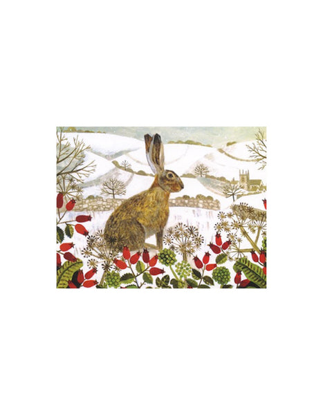 Seated Hare in the Snow Greetings Card Pack