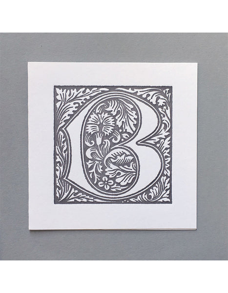 William Morris Letterpress - 'B' Greetings Card (grey)