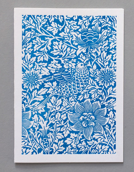 William Morris Letterpress - Bird and Anemone (blue)