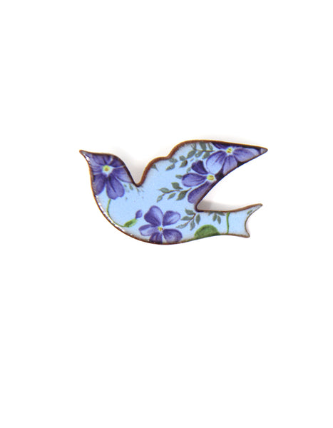Floral Bird Brooch (purple)