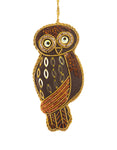 Brown Embroidered Owl Decoration