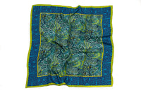 Dove and Rose Gallery Silk Scarf (Blue)