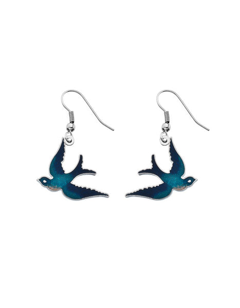 Sea Gems - Enamel Swallow Earrings (turquoise)