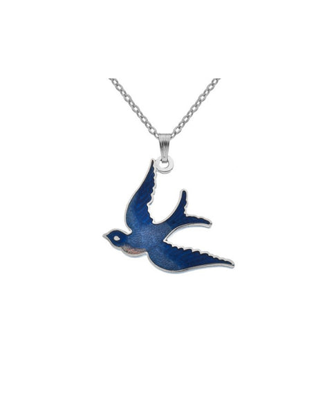 Sea Gems - Enamel Swallow Pendant (blue)