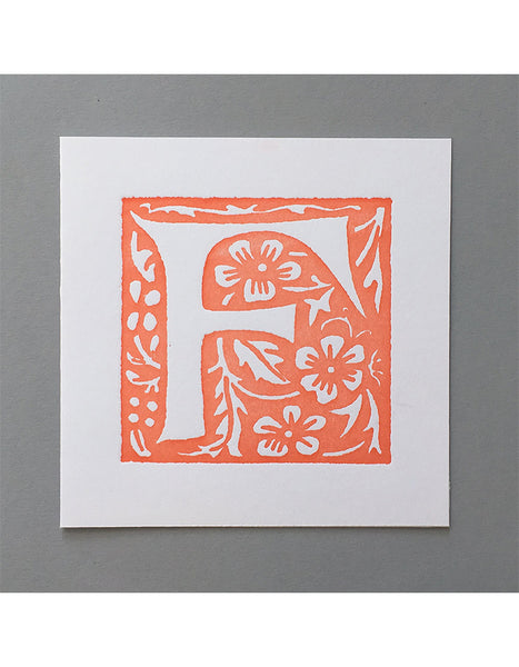 William Morris Letterpress - 'F' Greetings Card (orange)