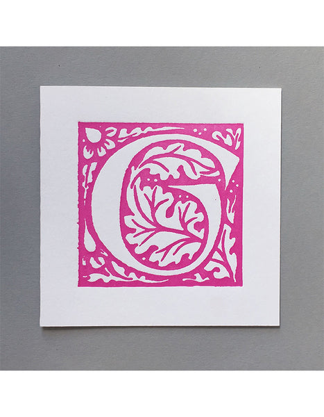 William Morris Letterpress - 'G' Greetings Card (pink)