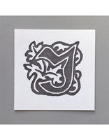 William Morris Letterpress - 'J' Greetings Card (grey)