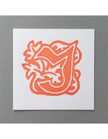 William Morris Letterpress - 'J' Greetings Card (orange)