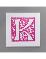 William Morris Letterpress - 'K' Greetings Card (pink)