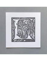 William Morris Letterpress - 'L' Greetings Card (grey)