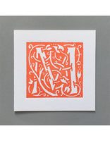 William Morris Letterpress - 'M' Greetings Card (orange)
