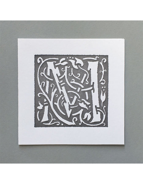 William Morris Letterpress - 'M' Greetings Card (grey)