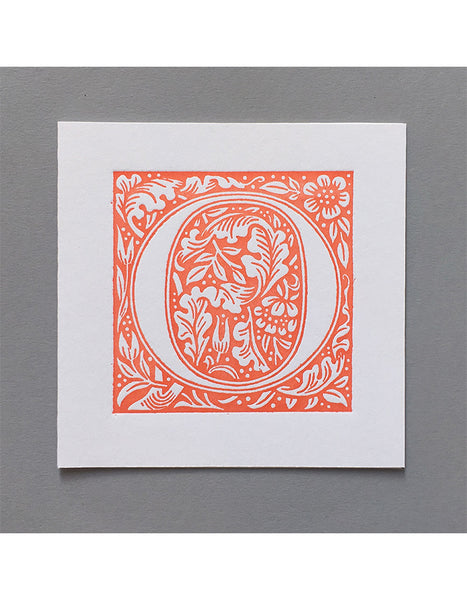 William Morris Letterpress - 'O' Greetings Card (orange)
