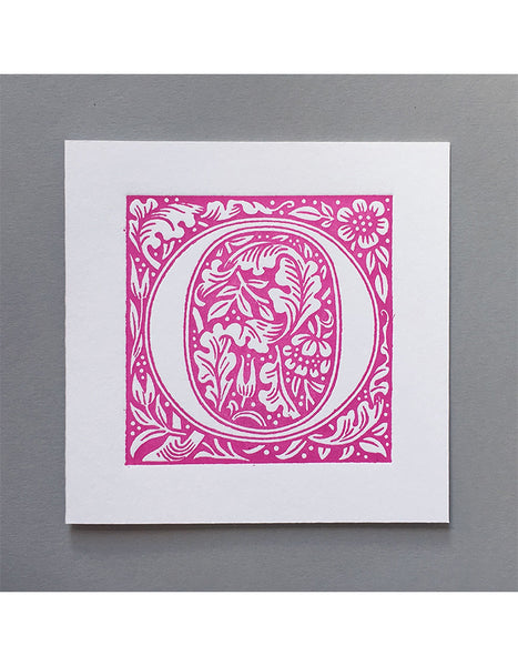 William Morris Letterpress - 'O' Greetings Card (pink)