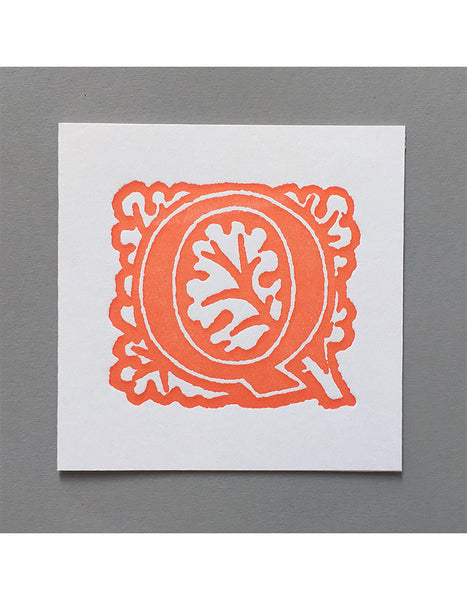 William Morris Letterpress - 'Q' Greetings Card (orange)