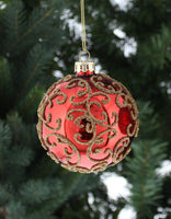 Glass Red Decorated Bauble