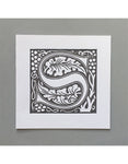 William Morris Letterpress - 'S' Greetings Card (grey)