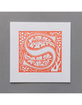 William Morris Letterpress - 'S' Greetings Card (orange)