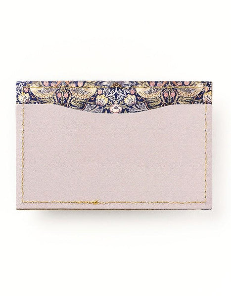 Strawberry Thief Double-sided Slim Leather Card Holder