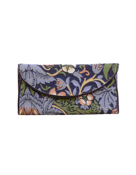 Strawberry Thief Tapestry Envelope Purse (blue)