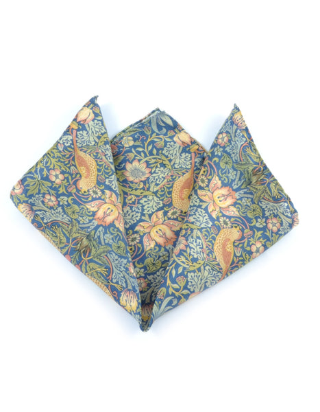 Strawberry Thief Pocket Square (large pattern)
