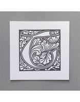 William Morris Letterpress - 'T' Greetings Card (grey)