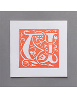 William Morris Letterpress - 'U' Greetings Card (orange)