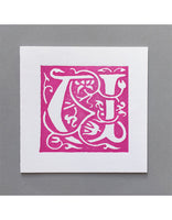 William Morris Letterpress - 'U' Greetings Card (pink)