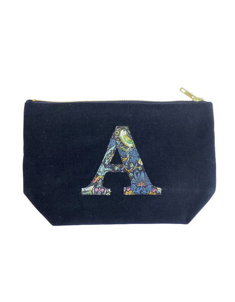 Velvet & Strawberry Thief Monogram Make Up Bag (various letters available)