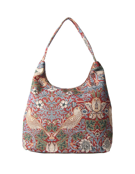 Strawberry Thief Hobo Bag (red)