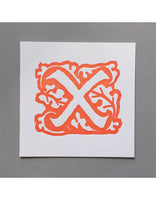 William Morris Letterpress - 'X' Greetings Card (orange)