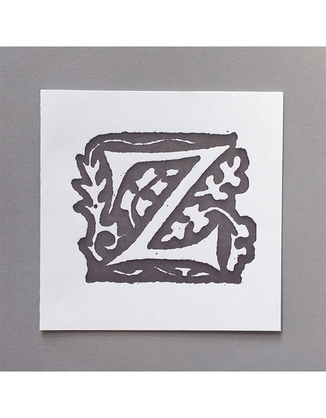 William Morris Letterpress - 'Z' Greetings Card (grey)