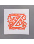 William Morris Letterpress - 'Z' Greetings Card (orange)