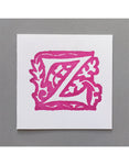 William Morris Letterpress - 'Z' Greetings Card (pink)